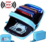 Women's Genuine Leather RFID Secure Spacious Cute Double-Zipper Card Wallet Small Purse with ID Window (TURQUOISE BLUE)