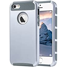 iPhone SE Case, iPhone 5S Case, iPhone 5 Case, ULAK Slim Dual Layer Protection Case Shock Absorbing Hard Rugged Ultra Protective Back Rubber Cover with Impact Protection(Silver+Gray)