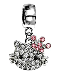 Silver Hellokitty charm with CZ crystals - fits all type of charm bracelets & necklaces