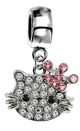 Silver Hellokitty charm with CZ crystals - fits all type of charm bracelets & necklaces Shalalla London KITTY-CROWN-CHARM-10MM