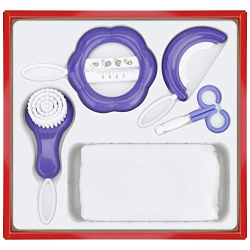 Baby Grooming Healthcare Kits/New Born Babies Basics Care Essentials 5 Set Consist of Thermometer Scissors Comb Brush Cotton Towl Purple from MADELIEV