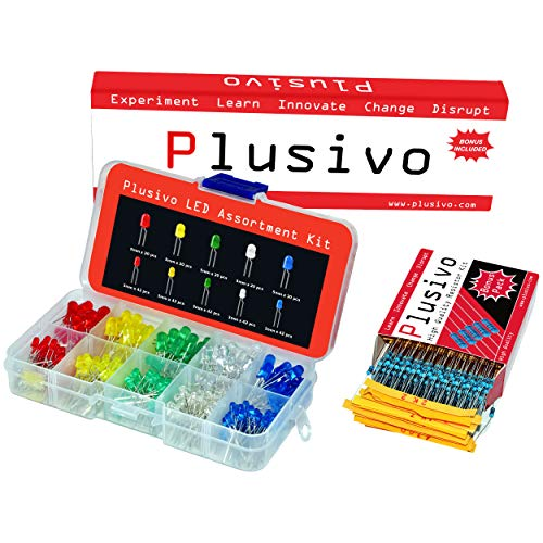 3mm-and-5mm-Diffused-LED-Light-Emitting-Diode-Assortment-Kit-Pack-of-Assorted-Color-Diffused-LEDs-310pcs-and-Resistors-Red-Yellow-Green-Blue-and-White-LED-Indicator-Lights-from-Plusivo