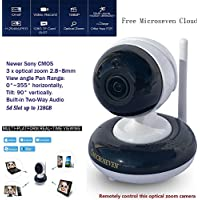 Microseven 2.8~8mm HD 1080P Pan/Tilt 3x Optical Zoom Indoor SONY 1/2.9 CMOS Built-in Two-Way Talk PTZ WiFi IP Camera Day & Night 128GB +iOS / Android App Free M7 Cloud+Live Streaming on microseven.tv
