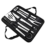 9Pcs/Set Stainless Steel BBQ Tools Set Barbecue Utensils Accessories Kit with Oxford Bag