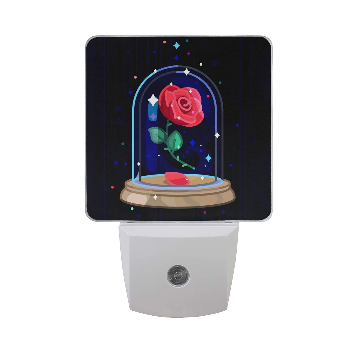 Naanle Set of 2 Luxury Cute Single Red Rose Flower Under Glass Dome Art On Dark Black Auto Sensor LED Dusk to Dawn Night Light Plug in Indoor for Adults