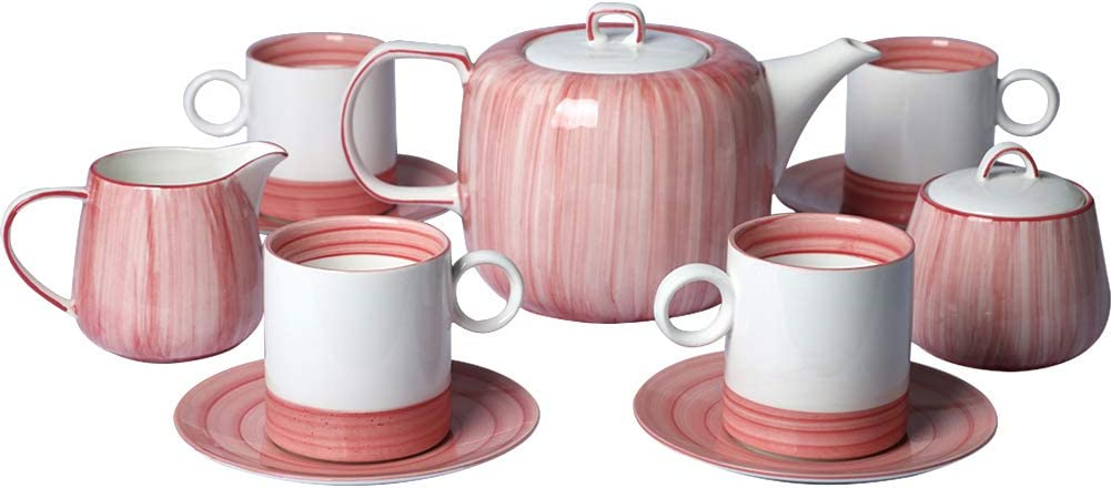 Sunddo Pink Porcelain Tea Sets,7 OZ Cups and Saucers Service for 4,with 39 ounces Teapot,Sugar Bowl Cream Pitcher for Home and Office Afternoon Tea Party