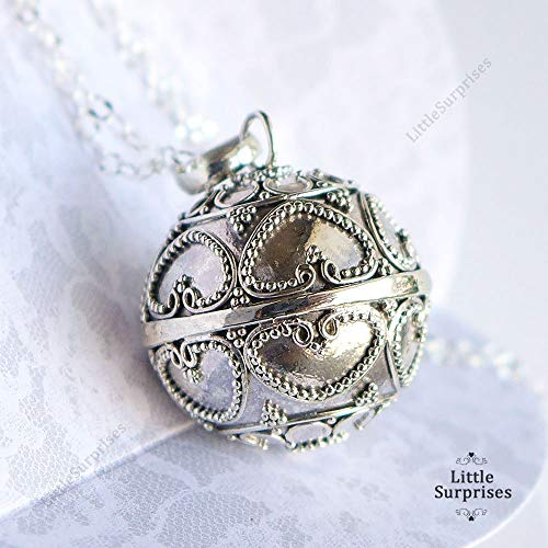 20mm Large Angel Caller Bell Hearts Sterling Silver Harmony Ball Baby Chime Pendant 36