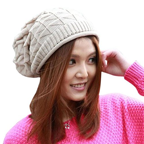Women's Winter Beanie Knit Crochet Ski Hat Oversized Cap Hat Warm (Beige  !)
