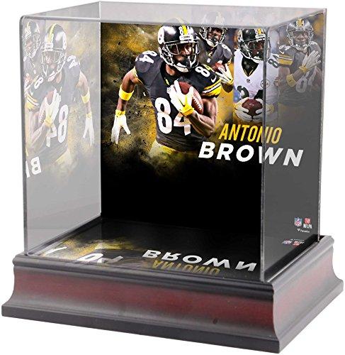 Sports Memorabilia Antonio Brown Pittsburgh Steelers Deluxe Mini Helmet Case - Football Mini Helmet Free Standing Display - Steelers Football Brown Pittsburgh Case