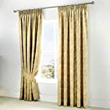 Serene - Jasmine - Ready Made Lined Pencil Curtains with Tie-backs - 66' Width x 90' Drop (168 x 229cm), Champagne Gold