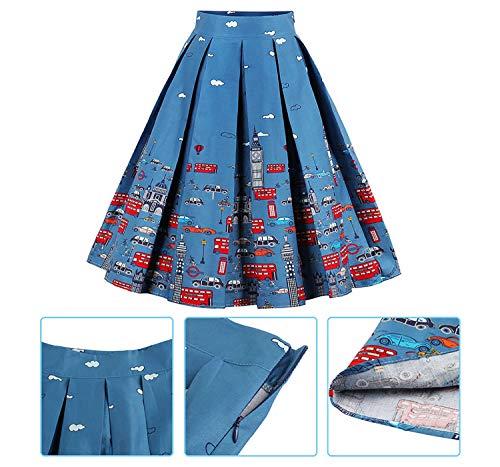 A Midi Colour Femme Taille Jupe Imprim FTVOGUE Ligne Pois Vintage Haute Plise C Florale pUC70