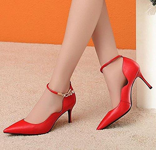 Heels Schuhe Pumps Frauen Damen High Point Schuhe Court Party Beige Hochzeit Sexy Toe Kleid Schwarz Knöchelriemen Rot zzITq