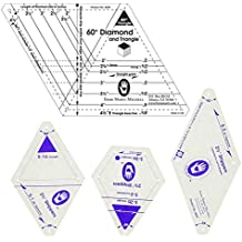 Marti Michell Quilting Templates Bundle – 2 Items: 2 ½-Inch Strippers Templates and One-derful One Patch 60-Degree Diamond and Triangle Template
