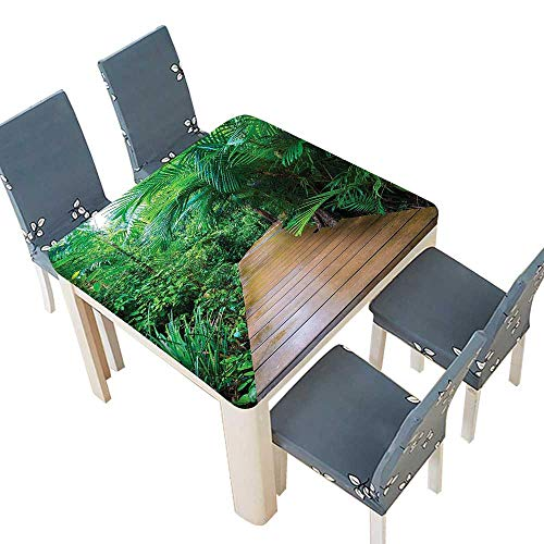 PINAFORE 100% Polyester Luxury Tablecloth Deck Timber Jetty Exotic Getaway Wilderness Footpath Tropic Plants Rainforest Resistant Waterproof Tablecloths 57 x 57 INCH (Elastic Edge) (Tropic Lycra Top)
