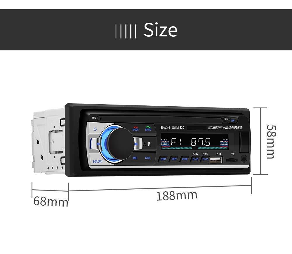 Prise en Charge de Carte TF USB Double auxiliaire Deux Ports USB pour Musique et Charger Radio FM st/ér/éo pour Connexion Voiture et DIN Autoradio Bluetooth t/él/écommande Lecteur MP3