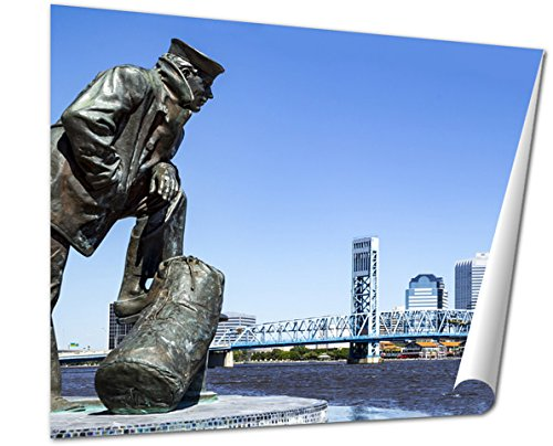 Ashley Giclee Jacksonville Florida Skyline And Sailor Sculpture Along The St Johns River Fine Art Decoration for kitchen, living room, home office, den or bedroom, ready to frame, 24x30 - Florida Jacksonville St Johns