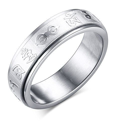 XUANPAI 6MM Stainless Steel Tibetan Buddhist Mantra Om Mani Padme Hum Spinner Ring,Size ()