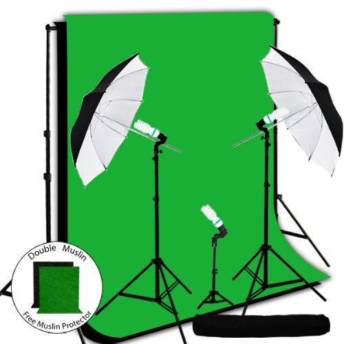 LimoStudio 600 Watt Photo Video Light Kit, 10' x 10' Black and Green Chroma Key Muslin Backdrops with Adjustable Backdrop Support + FREE Matching Black and Green Muslin Protectors, 2 ()