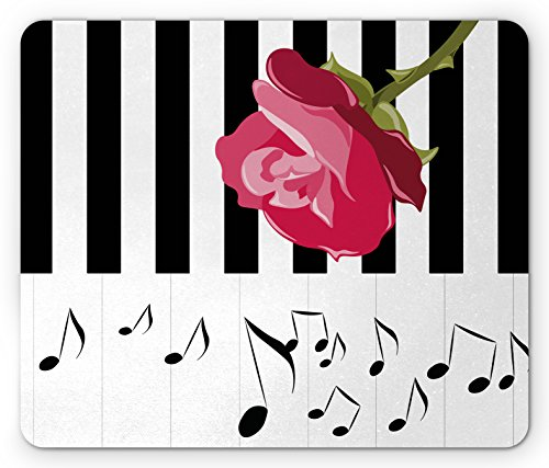 Modern Mouse Pad by Ambesonne, Hand Drawn Red Rose on Piano with Musical Notes Romantic Instrumental Art, Standard Size Rectangle Non-Slip Rubber Mousepad, Pink Black White