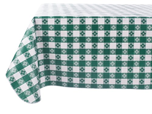 Yourtablecloth Checkered Vinyl Tablecloth with Flannel Backing for Restaurants, Picnics, Bistros, Indoor and Outdoor Dining (Green and White, 52X120 Rectangle/Oblong) (Gingham Vinyl Tablecloth)