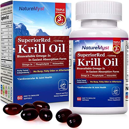NatureMyst Krill Oil, 1250mg, Professional Grade 60 Liquid Softgels (Cut One in Half to See The Clear Difference) (Best Rated Krill Oil Supplements)