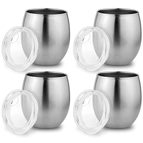 Zero Degree Stainless Steel Tumbler with Lid, Double Wall Vacuum Insulated Travel Mug for Hot and Cold Drink by (8oz 4 Pack)