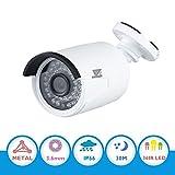 JZTEK Wide Angle Security Bullet Camera HD 720P 1MP 36PCS IR-LEDs 3.6mm lens with IR Cut CCTV Camera Home Security Day/Night Waterproof Camera- 85ft(30m) IR Distance, Aluminum Metal Housing