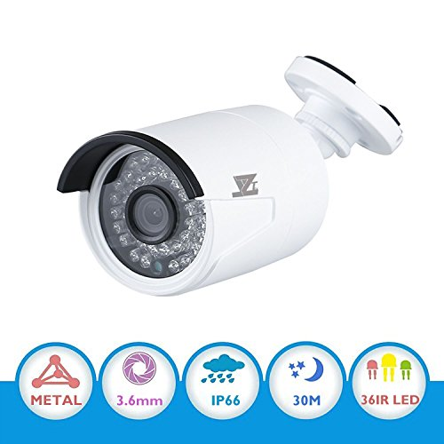JZTEK 1/3″ CMOS 1200TVL 720P CCTV Home IR Surveillance Weatherproof 36 Led 3.6mm Lens Wide Angle Bullet Security Camera with IR Cut-100ft IR Night Vision Distance, Aluminum Alloy Housing Silver