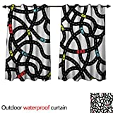 Curtains with Fish on Them WilliamsDecor Cars Home Patio Outdoor Curtain Intertwining Roads with Cars on Them Complicated Design with Urban Life Theme W72 x L72(183cm x 183cm)