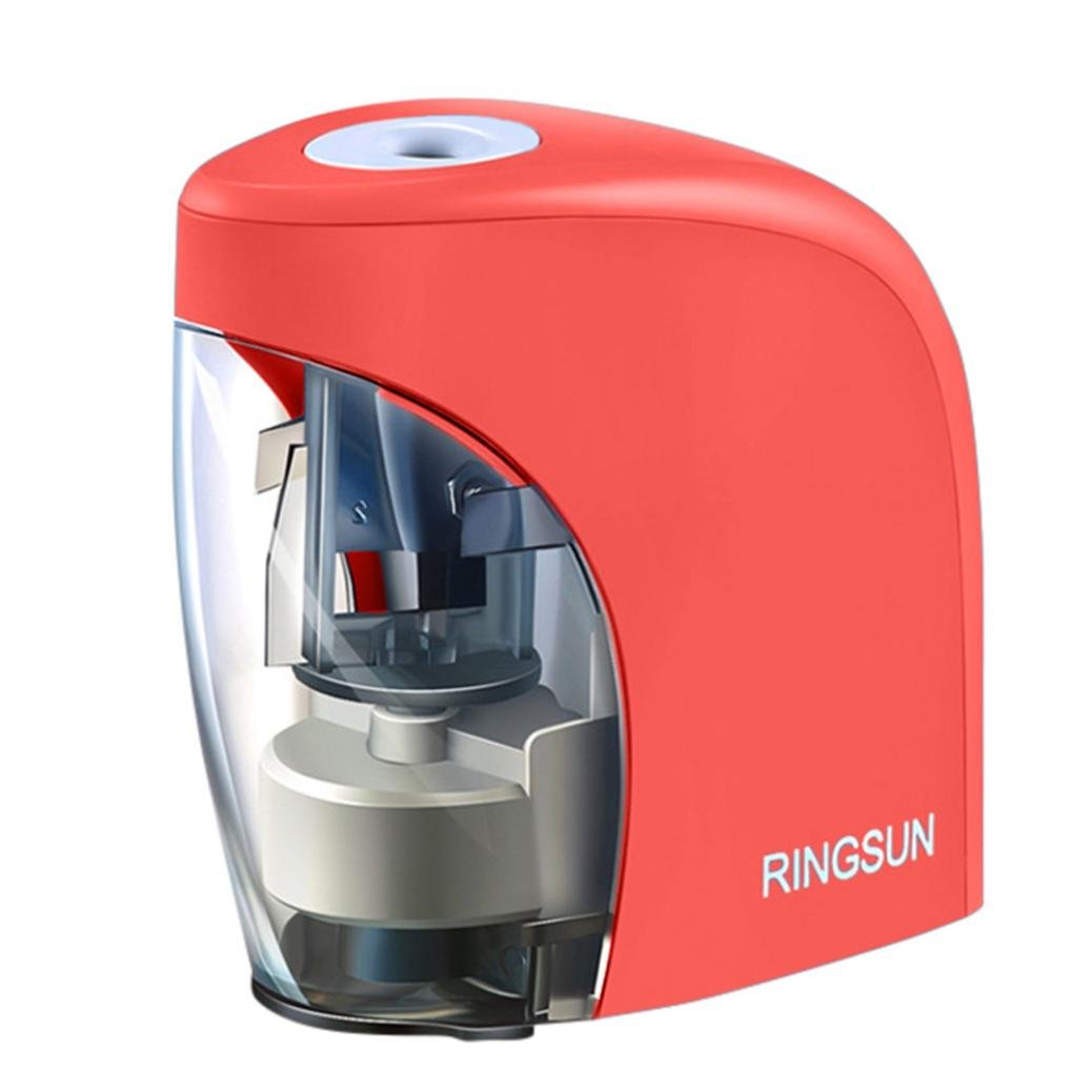 LiPing Auto Durable Portable Electric Pencil Sharpener for School Classroom, Home, Office, Studio (Red)