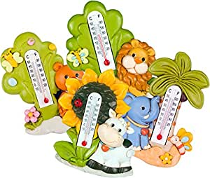Juego de 4divertidos Multicolor Niños termómetro de cerámica con motivos y Imanes 015600