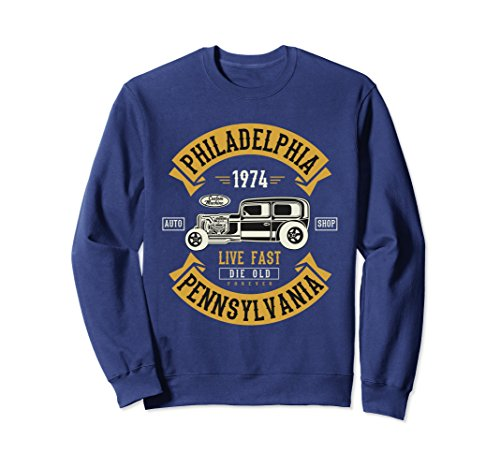 City Classic Car - Unisex Vintage Hot Rod Philadelphia Muscle Car Fathers Day Sweater Large Navy