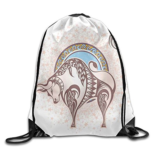 Guangzhou Ancient Horoscope Icon Taurus With A Bull Figure On Grungy Prediction Unisex 3D Print Drawstring Backpack Shoulder Bags from Guangzhou