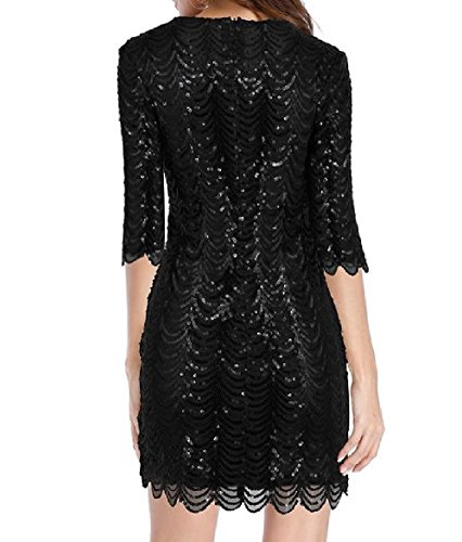 Dress Black Women Coolred Sexy Sleeve Half Solid Sequin Mini Slimming 8PvqPFw
