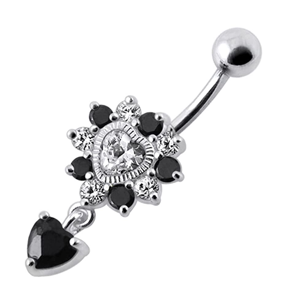 CZ Stone Two Tone Studded Heart Dangling Design 925 Sterling Silver Belly Button Piercing Ring Jewelry