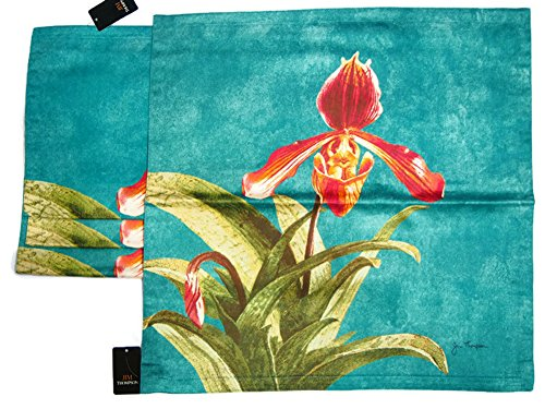 Jim Thompson - Thai Handmade - Set of 4 100% Thai Silk Square Sofa Cushion Pillow Cover / Case for Home Decoration - Orchid by Jim Thompson