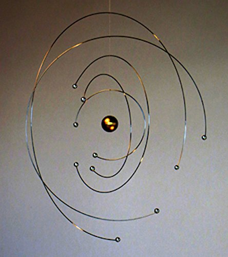 Niels Bohr Atom Model Hanging Mobile - 9 Inches - Steel - Handmade in Denmark by Flensted