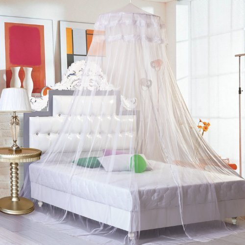 GYBest Round Lace Curtain Dome Bed Canopy Netting Princess Mosquito Net (White)