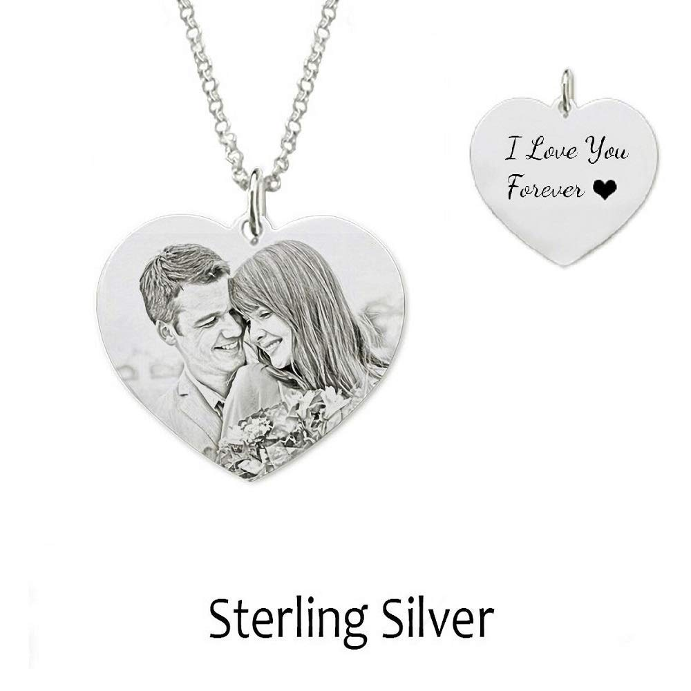 ZHUOZE Customized Picture Necklace Personalized 925 Sterling Silver Photo Shadow Craving Necklace for Men//Women//Girls//Boys//Lover