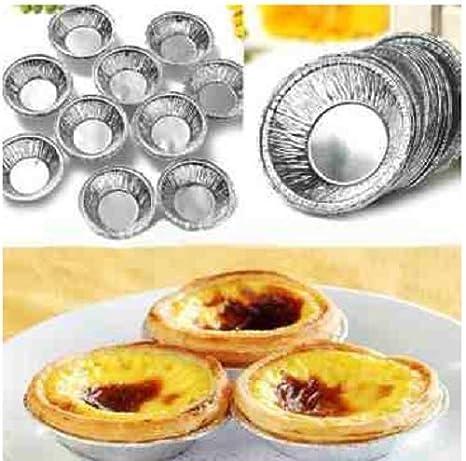 125pcs desechable redondo plata Foil hornear galletas tazas para tartas Tart molde/cajas para tarta Pan ...