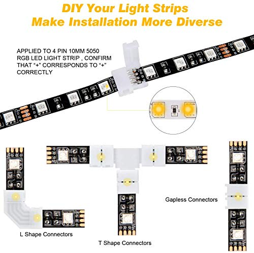 46 Pcs RGB LED Light Strip Connectors Kit, 4Pin LED Connector 10mm Gapless Solderless Adapter, L Shape Connectors,T Shape Connectors for SMD 5050 LED Strip with 10 Led Strip Clips, Pry Open Tool