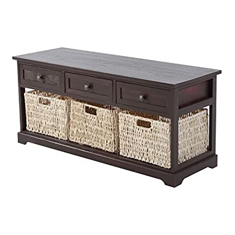 Contemporary Cherry Brown Storage Console Table Removable Drawer Straw Basket With Ebook - Mirrored Set China Cabinet