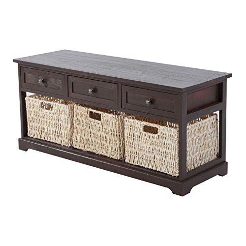 Contemporary Cherry Brown Storage Console Table Removable Drawer Straw Basket (Expandable Round Dining Room Tables)