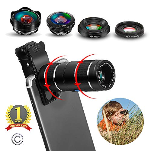 Phone Camera Lens,5 in 1 Cell Phone Lens Kit - 12x Telephoto Lens+4K HD Wide Angle Lens+Fisheye Lens+Macro Lenses(2ps) with Durable Aerospace Aluminum housing for iPhone and More