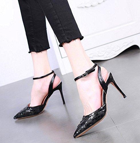 SSBY Die Neue Spitze 9.5Cm High Heels Mit Einem Schönen Leeren Seite Mode Sexy Eine Gürtelschnalle Schlange Alle Mit Schuhen black