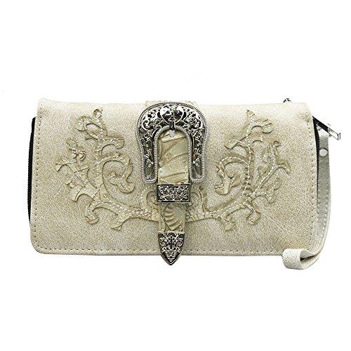 La Dearchuu Tooled Laser Cut Leather Floral Embroidery Western Wristlet Purse for Women(beige) by La Dearchuu