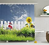 Farm House Decor Shower Curtain by Ambesonne, Grass Foliage Field with Bar Sunflowers Daisy Hedge Yard Cloudy Jardin, Fabric Bathroom Decor Set with Hooks, 84 Inches Extra Long, White Green Blue