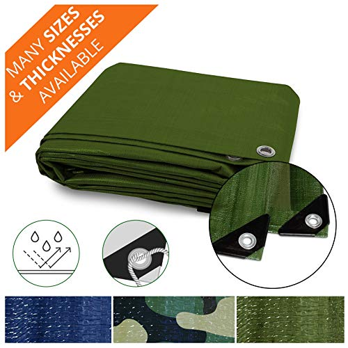 (Heavy Duty Tarps | Waterproof Ground Tent Trailer Cover | Multilayered Tarpaulin in Many Sizes and Thicknesses | 10 Mil - Green - 6' x 8')