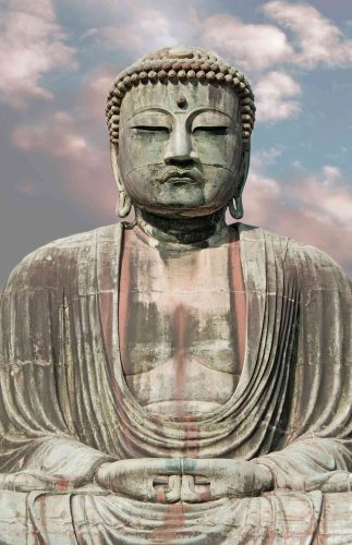4.5-Feet wide by 7-Feet high. Prepasted wallpaper full wall size mural photo of: Great Buddha of Kamakura, Japan. Easy to hang remove and reuse (hang again) if U do as in our demo video.