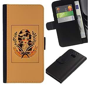 Paccase / Billetera de Cuero Caso del tirón Titular de la tarjeta Carcasa Funda para - hippie freedom 60's retro wreath art - HTC One M8